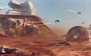 Картинка планета, Star Wars, битва, Concept Art, Battle of Jakku