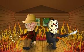 Обои Фредди против Джейсона, Пятница 13-е, Freddy vs. Jason, прикол, Кошмар на улице Вязов, дом, Friday ...