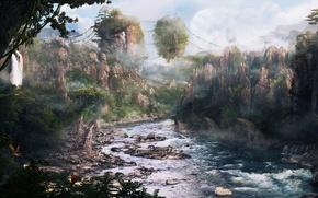 Обои острова, скалы, река, лес, горы