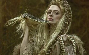 Картинка девушка, фантазия, змея, арт, Ellie, Temptation, Agnieszka Lorek
