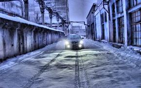 Обои Mazda 6, Следы, Снег, Зима