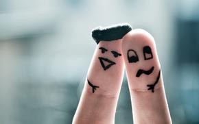 Обои рожицы, пальцы, настроение