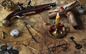 Картинка карты, часы, свеча, ключ, очки, монеты, компас, циркуль, пистоль