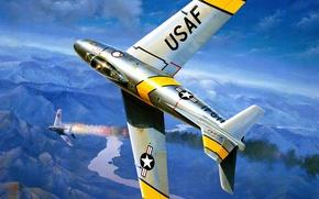 Картинка war, art, airplane, painting, aviation, jet, F-86 Sabre, korean war, MIG-15