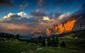 Обои горы, долина, природа, закат, лес