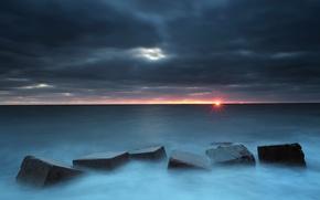 Обои море, закат, блоки