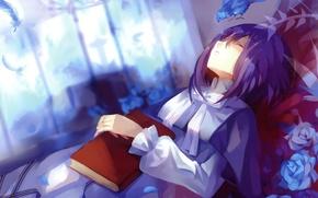 Картинка девушка, птица, перья, спит, книга, art, +pause+, голубые розы, Dhiea Seville, Dhiea