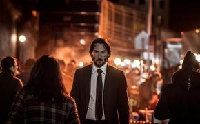Картинка city, cinema, night, man, movie, assassin, film, Keanu Reeves, suit, tie, scar, John Wick, John …