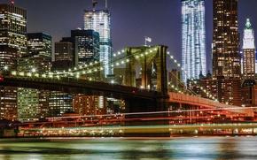 Картинка ночь, огни, Нью-Йорк