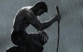 Обои стальные когти, Росомаха: Бессмертный, меч, The Wolverine, сидит, дождь