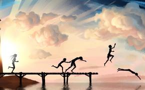 Картинка море, лето, небо, радость, дети, река, фон, настроение, обои, рисунок, пирс, арт. картинка, ныряния