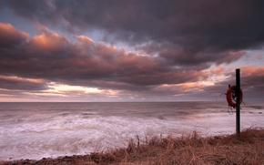 Картинка море, закат, берег, круг