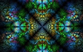 Обои синий, желтый, зеленый, фон, розовый, фракталы, текстура, симметрия