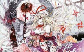 Картинка вертушки, маски, бант, красные глаза, длинные волосы, touhou, art, yakumo yukari, chihiro