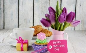 Картинка цветы, праздник, коробка, подарок, кофе, еда, карта, букет, чашка, тюльпаны, торт, cake, box, крем, десерт, ...