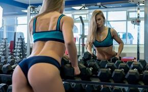 Обои female, dumbbells, mirror, reflection, workout
