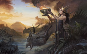 Картинка девушка, женщина, дракон, рисунок, жертва, болото, ритуал, фэнтези, арт, майя, пирамида, жрица, ацтеки, Magic The ...