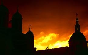 Картинка небо, Закат, тени, монастырь