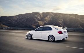 Обои фото, движение, скорость, white, subaru, cars, auto, wrx, impreza, cars walls, sedan, sti, обои авто, ...