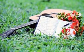 Картинка ноты, музыка, гитара