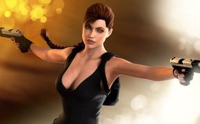 Обои девушка, блики, рендеринг, фон, пистолеты, Angelina Jolie, Tomb Raider, 3D модель, Lara Croft, art by ...