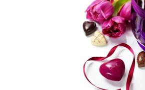 Обои цветы, тюльпаны, любовь, шоколад