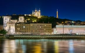 Картинка Франция, здания, набережная, France, Lyon, Лион, Базилика Нотр-Дам-де-Фурвьер, Basilica of Notre-Dame de Fourviere, Rhone River, ...
