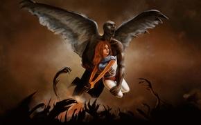 Картинка девушка, оружие, крылья, демон, арт, Barbarella