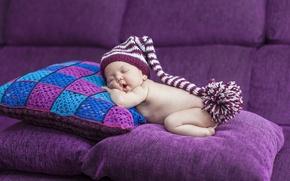 Картинка диван, сон, подушки, ребёнок, колпак, младенец