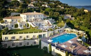 Картинка море, побережье, Франция, вилла, бассейн, отель, Côte d'Azur, Saint-Tropez, Villa Belrose, Luxury Dream hotel