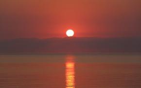 Картинка Закат, Солнце, Небо, Облака, Море, Свет, Лучи, Блик, Дорожка