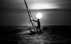 Картинка волны, облака, закат, виндсерфинг, экстремальный спорт, виндсерфинга