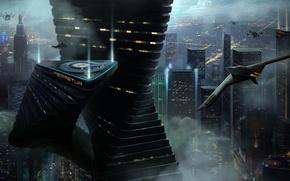 Обои город, будущее, транспорт, корабль, арт, мегаполис