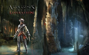 Картинка вода, пещера, Ubisoft, ассасин, Авелина де Гранпре, Assassins Creed:Liberation HD
