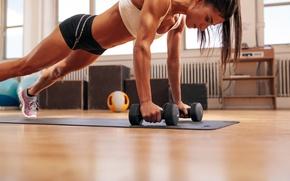 Обои fitness, pose, floor, dumbbells, workout