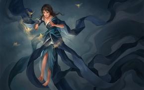 Картинка девушка, птицы, магия, босиком, платье, арт, палочка