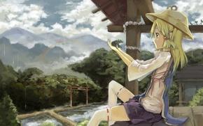 Картинка девушка, деревья, природа, дом, дождь, лягушка, радуга, шляпа, аниме, арт, touhou, moriya suwako, gensou kuro …