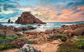Картинка пляж, закат, скала, камни, Австралия, западная