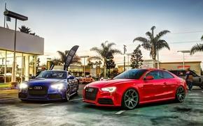 Обои красный, Audi rs5, синий, Ауди