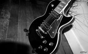 Картинка стиль, гитара, чёрно-белое, струны, корпус, инструмент, гриф, музыкальный