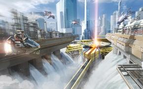 Картинка девушка, город, будущее, транспорт, арт, мегаполис