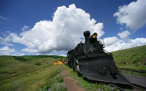 Обои локомотив, Железная, облака, дорога, паровоз