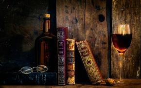 Картинка бокал, книги, очки, As time goes by