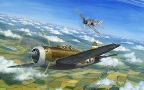 Картинка небо, рисунок, арт, истребители, американский, самолёты, немецкий, воздушный бой, WW2, Мессершмитт Вf 109, Брюстер F2А ...