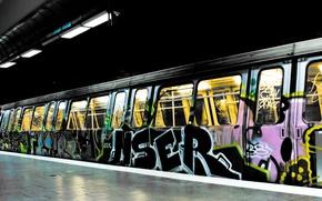 Обои свет, city, город, надписи, метро, краски, поезд, colors, рисунки, light, graffiti, 1920x1200, train, lettering, subway, ...