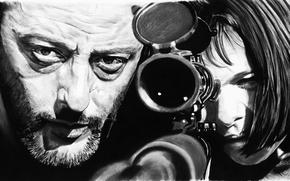 Обои черно-белое, арт, Леон, Natalie Portman, Натали Портман, Жан Рено, рисунок, Jean Reno, оптика, Leon, снайпер