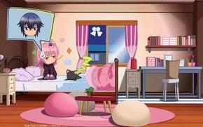 Картинка мечты, ночь, котенок, стол, комната, черный, книги, кровать, окно, art, розовые волосы, peach-pit, ikito tsukiyomi, …