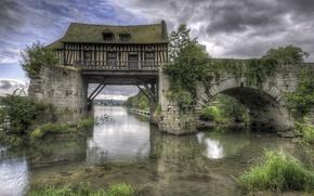 Картинка мост, дом, река