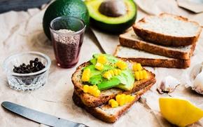 Картинка лимон, кукуруза, бутерброд, специи, чеснок, авокадо, тост