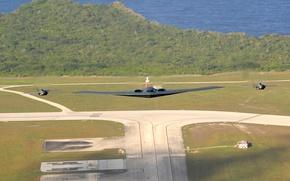 Обои стратегический, northrop, взлётная полоса, малозаметный, spirit, взлёт, военный, обои, невидимка, бомбардировщик, истребители, авиация, самолёт, b-2
